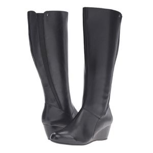 Hush Puppies Pynical Rhea Wedge Leather Boots
